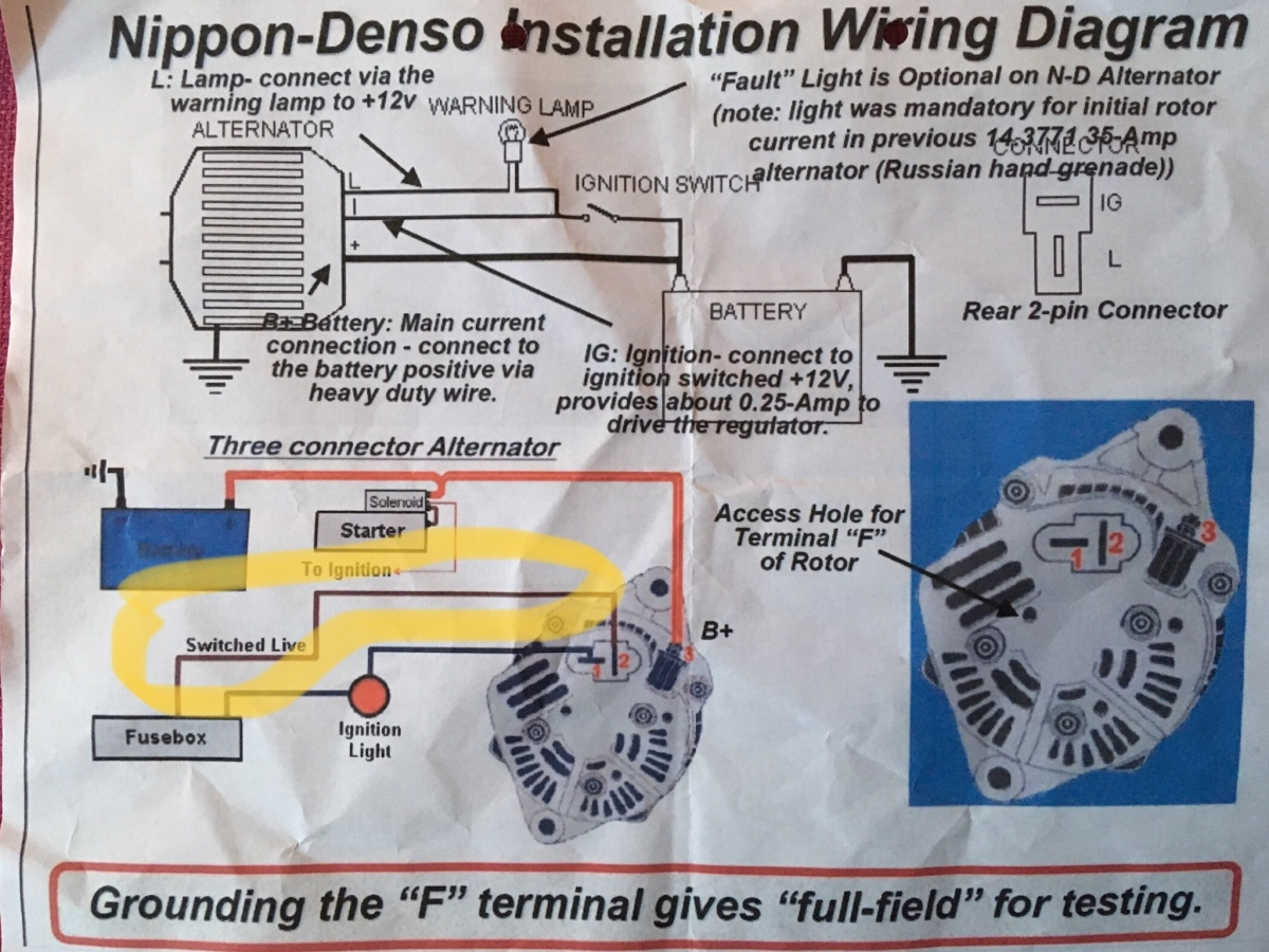 Denso 12v Alternator Wiring Diagram Internally Regulated Conversion U201cswitched Live U201d Connection Electrical Rh Lotuselan Net Delco Internal Regulator
